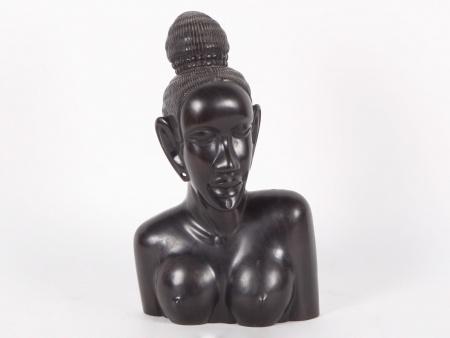 Ebony Wood Young Woman Bust - IB03939
