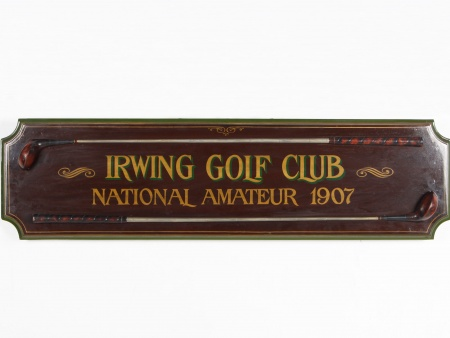"Wooden Panel: ""Irwing Golf Club - National Amateur 1907"" - IB04025"