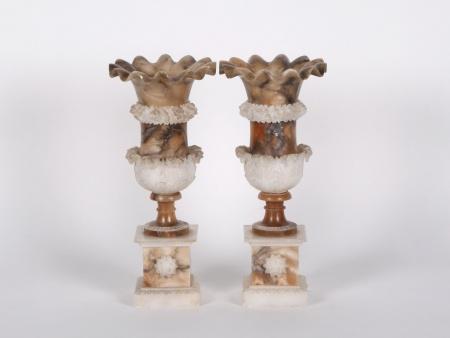 Pair of Alabaster Vases. 19th Century - IB04107