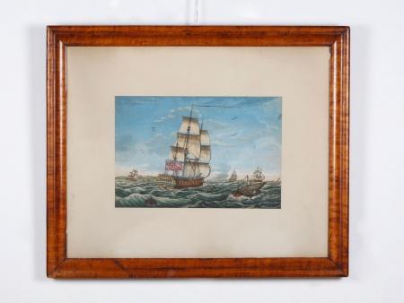 Marine Watercolored Engraving. Late 19th Century - IB04307