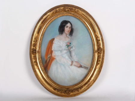 """19th Century Pastel """"Jeune Femme à l"""