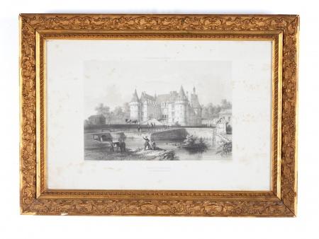 """Lithograph of Engraving """"Château de Mesnières"""" - IB04354"""