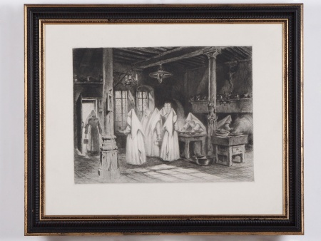 """Lithograph """"Les Religieuses"""". Early 20th Century - IB04385"""