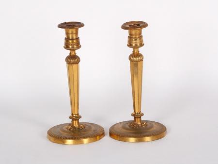 Pair of Gilded Candlesticks. Restauration Era.19th Century - IB04424