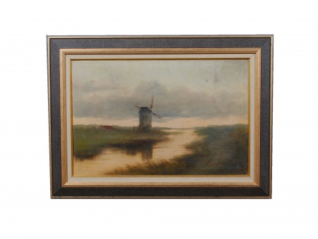 "Oil on Canvas ""Moulin Dans un Paysage Hollandais"" - IB04602"