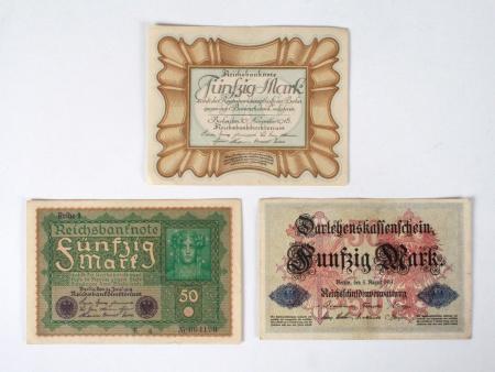 Three German Banknotes - IB04829