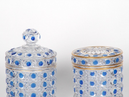 "Two Small Trinket Box in Baccarat Crystal ""Diamant Pierreries Bleu"" - IB05127"
