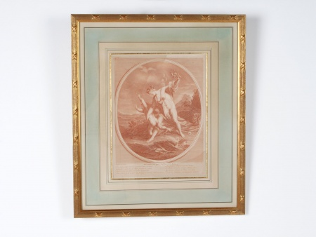 """French """"Sanguine"""" Engraving of the 19th Century - IB05173"""