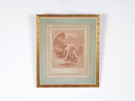 """French """"Sanguine"""" Engraving of the 19th Century. France. - IB05174"""