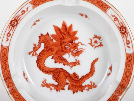 Meissen Red Ming Dragon Ashtray - IB05348