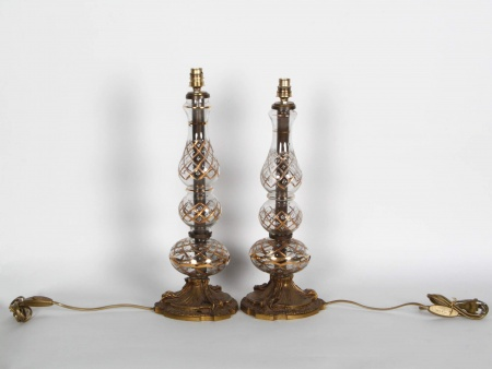 Pair of Bohemian Crystal Lamp bases. End of the 19th Century - IB05494