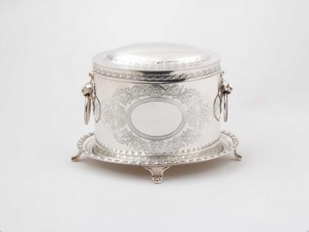 Silver Plated Metal English Biscuit Jar, 19th Century - IB05666