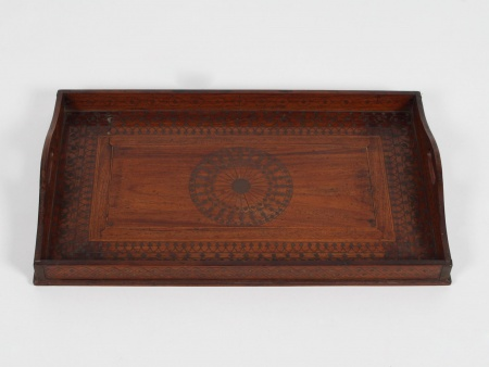 Antique Indian Wooden and Brass Inlays Tray - IB05705