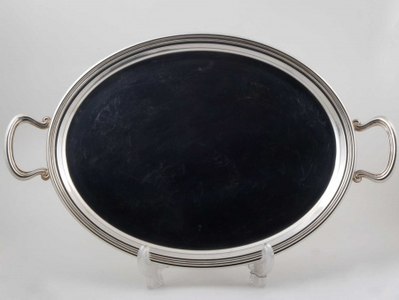 Oval Silver Plated Metal Tray - IB05818