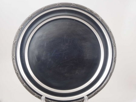 Round Silver Plated Metal Plate - IB05822