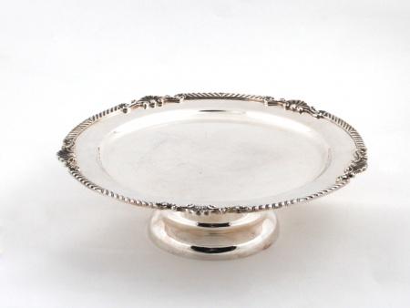 Silver Plated Metal Display Dish on Pedestal - IB05826