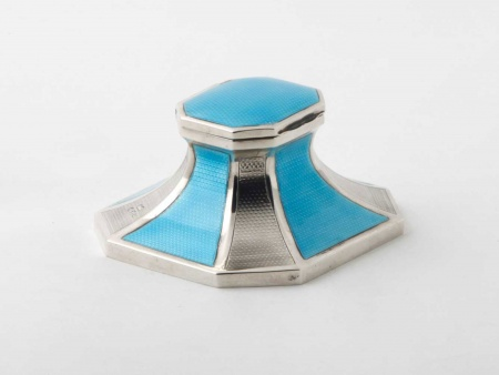 Art Deco Sterling Silver and enamel Inkwell - IB05860