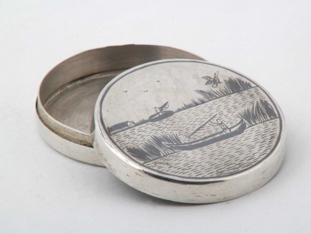 Oriental Silver Niello Pill Box - IB05915
