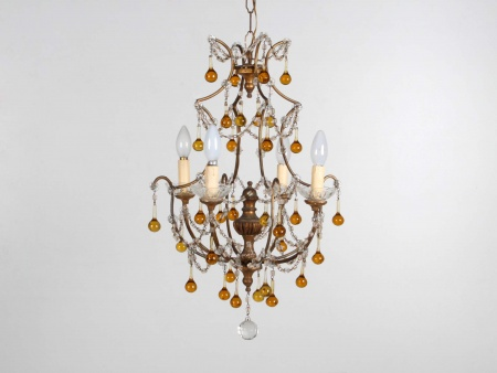 19th Century Gilded Wood and Crystal Chandelier - IB05964