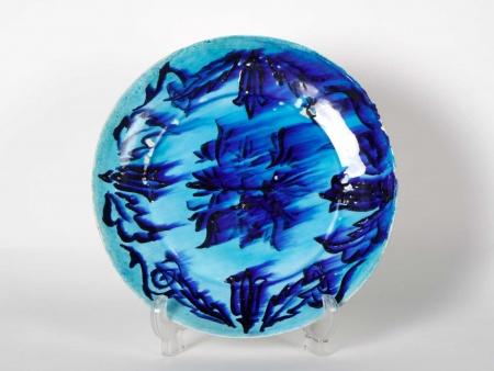 Plate in Blue Glazed Ceramic. 20th Century - IB06035