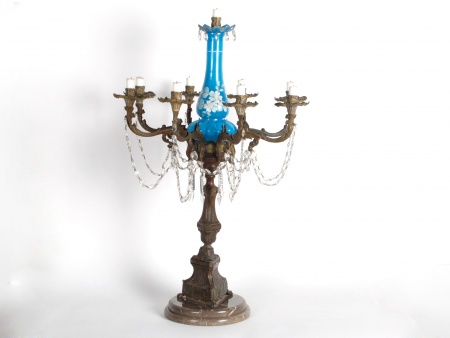 Bronze and Opaline Candelabrum. End of 19th Century - IB06125