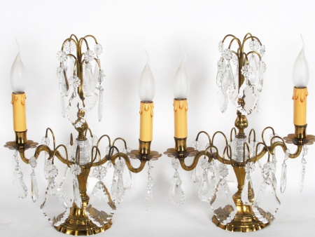 """Pair of Gilded Copper and Crystal """"Girandoles"""" - IB06353"""