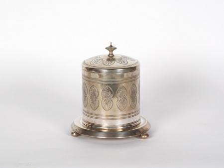 Silver Plated Metal English Biscuit Jar - IB06716