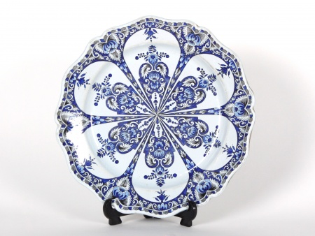 Large earthenware blue plate. 19th century. - IB07205