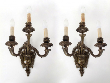 Pair of Louis XV Style Bronze Bracket Lamps - IB07469