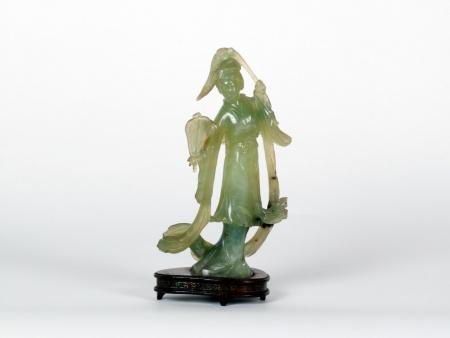Serpentine Chinese Statuette - IB07516