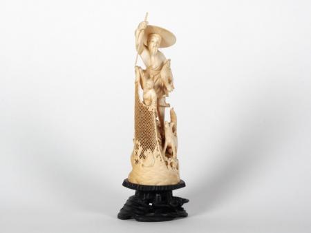 "Japanese Ivory ""Fisherman"" Okimono. Meiji Period - IB07522"