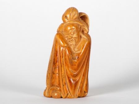 """Old Sage"" Chinese Ivory Okimono. Meiji Period - IB07532"