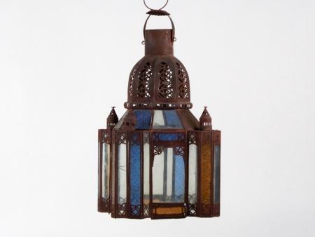 Oriental Lantern in Brass and Glass - IB07658