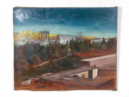 "Oil on Canvas: ""Les Ruines de Baalbek"" - IB07685"