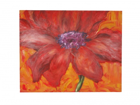 "Lamia Debs: Oil on Canvas ""Flower"" - IB07734"