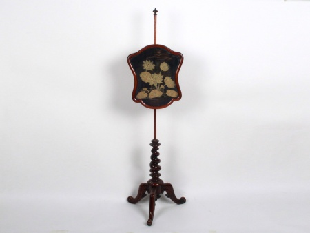 Antique Embroidered Fire Screen - IB07803