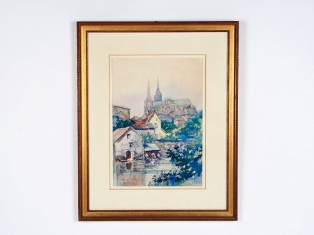 "A.Mattens: Watercolor ""Chartres"" - IB07821"