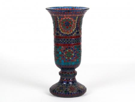 Large Mosaic Colored Glass Vase - IB07954