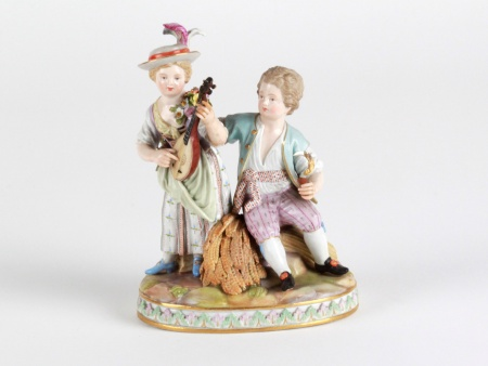"19th Century Meissen Group ""Couple with the Mandolin"" - IB08069"