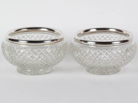 Pair of Crystal and Sterling Silver Centerpieces - IB08152