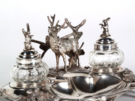 19th Century Sterling Silver Austrian Inkwell - IB08175