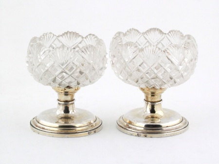 Two 19th Century Sterling Silver and Crystal Cups - IB08189