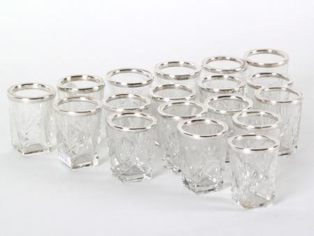 18 Crystal & Sterling Silver Shot Glasses - IB08201
