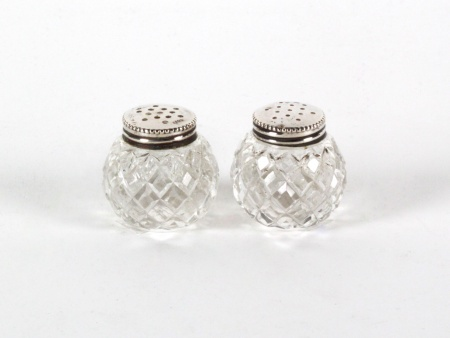 Austrian Sterling Silver and Crystal Salt Shakers - IB08246