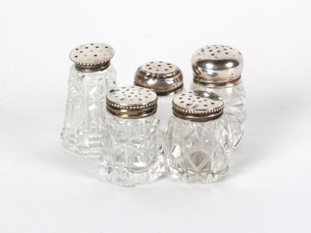 5 Sterling Silver and Crystal Salt Shakers - IB08251