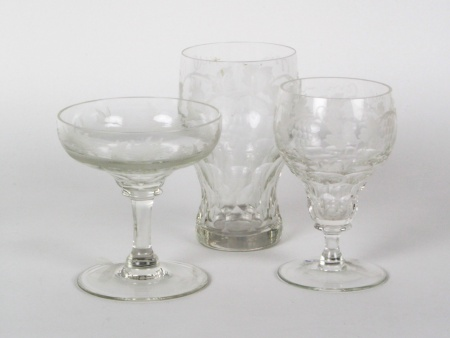 Three Engraved Crystal Glasses - IB08254