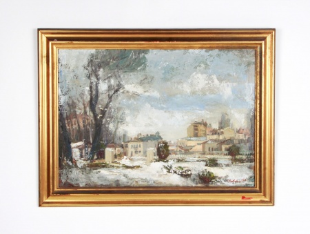 "Oil on Panel ""Winter Scenery"" - IB08263"