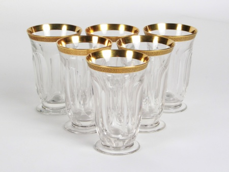 Six Moser Gilded Crystal Glasses - IB08338