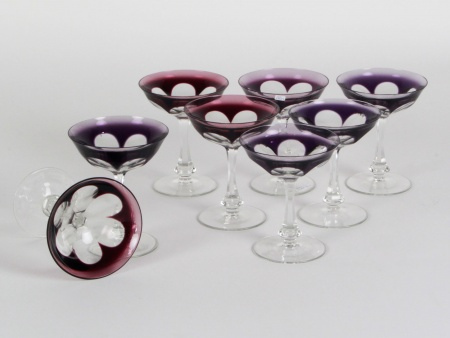 Eight Moser Purple Crystal Champagne Glasses - IB08340