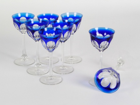 Eight Moser Blue Crystal Glasses - IB08345